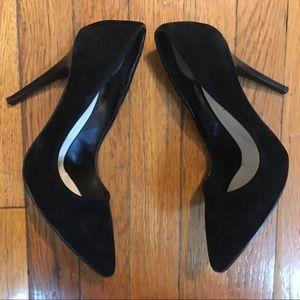 HP! Suede Pointed Black Heels