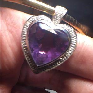 Jewelry - 14k White Gold Pendant Heart Amethyst Diamonds