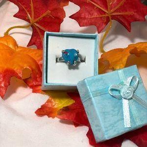 Jewelry - Heart shape size 5 1/2 turq/silver fashion ring