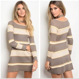 Last One!!❤️Mustard striped sweater dress❤️