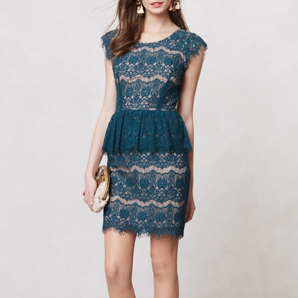 a94c3f172c1 Anthropologie Dresses   Skirts - Anthropologie Maeve Elsa Lace Peplum Dress  in Jade