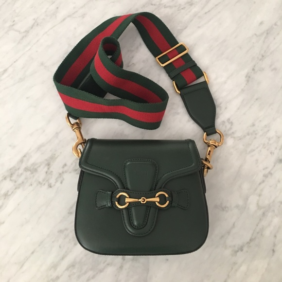 Gucci small saddle leather crossbody bag 2 straps
