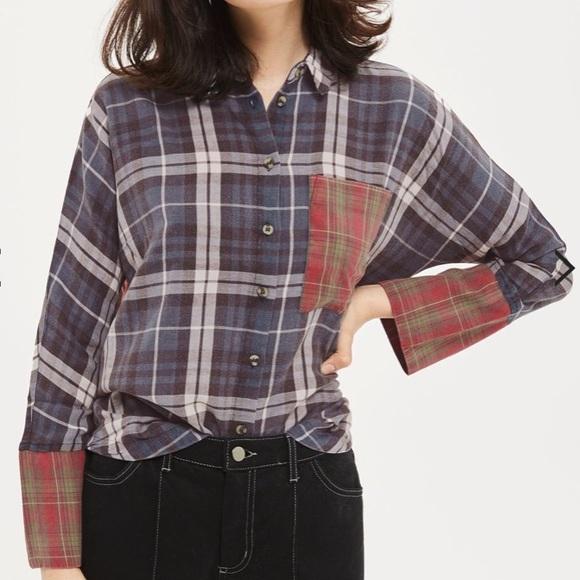 Topshop mismatched washed Flannel