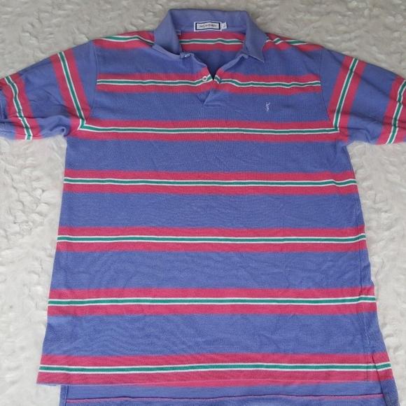 11c59bc8 Vintage YSL Mens Striped Polo Shirt (Large). M_59f20f0c6d64bc58c701461b