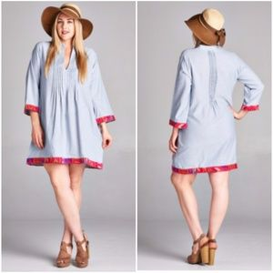 Dresses & Skirts - Plus Size  Pleated Chambray BoHo Gypsie Mini