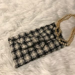Black tweed envelope clutch