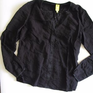 Qmack Women's Ladies M Black Button Up Long Sleeve