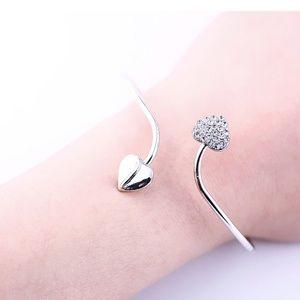 Jewelry - Nwt Silver Double Heart Rhinestone Bangle