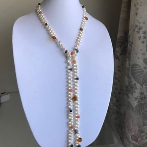 Freshwater pearl and gemstone lasso necklace
