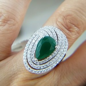 14k Gold plated Green pear Large Engagement Ring