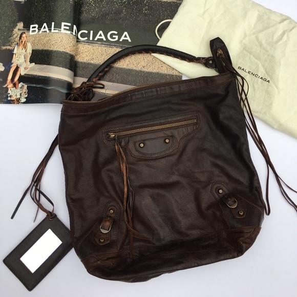 715328a56599 Balenciaga Handbags - Balenciaga Motocross Classic Day Bag Dark Brown