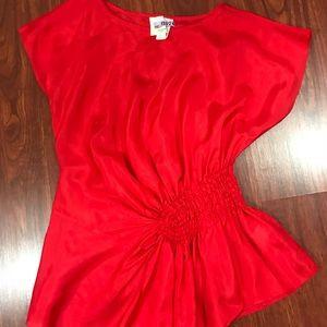 Aryn K 100% Silk Red Blouse Sz s