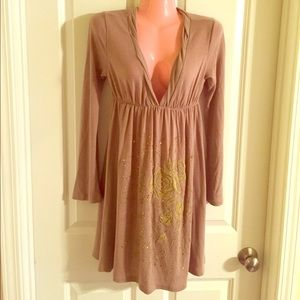 Dresses & Skirts - Tan sweater dress with Gold Beading