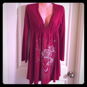 Dresses & Skirts - Cranberry Sweater Dress with Silver Beading