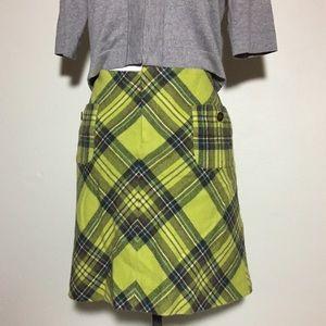 Bandolino Lime Green with Blue Plaid Mini Skirt 10