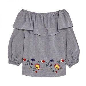 ZARA Off Shoulder Embroidered Shirt