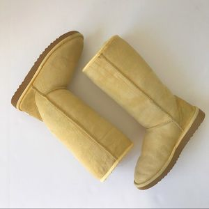 Classic Tall UGG Boots Yellow Sheepskin Suede W7