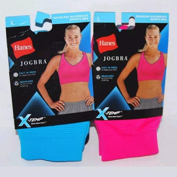 6ddffbaf8a Hanes Jogbra 2 Sports Bras Pink Blue