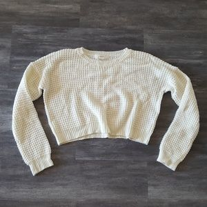 White Waffle Cropped Sweater Long Sleeve