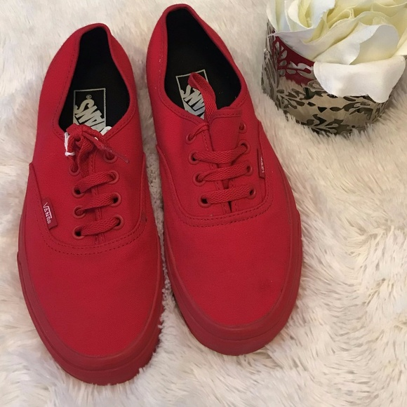471aa600e7 Vans Shoes - VANS- Solid Red Size Womens 7.5  Mens 6