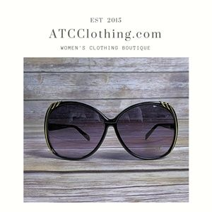 """Accessories - Black sunglasses with gold  """"metal"""" frame detail"""