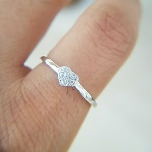 Jewelry - Dainty 14k Gold plated Heart Engagement Ring
