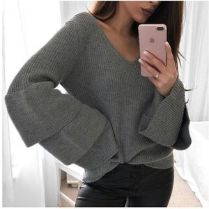 Layered Bell Sleeve Cozy Knit V Neck Sweater Grey
