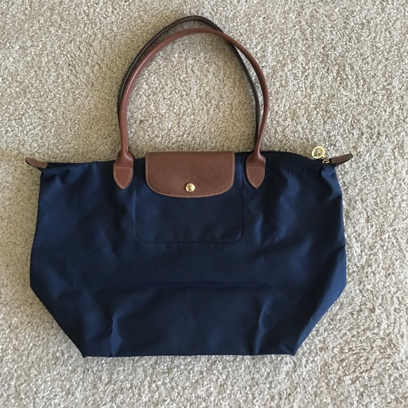 ef49a0285a Relatively Longchamp Le Pliage Dark Blue Bag In Size L