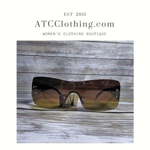 Accessories - Brown/Yellow Tinted Shield Sunglasses