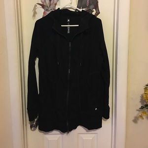 Long black zip up hoodie