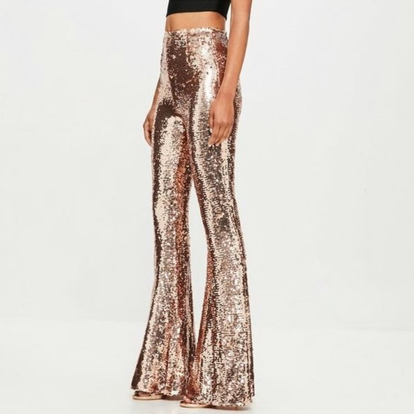 Pants Jumpsuits Brand New Rose Gold Sequin Flare Pants Poshmark