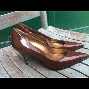 Women's Nine West Brown Patent Leather Pumps 8.5M