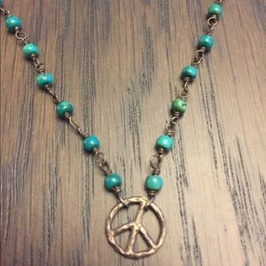 Jewelry - Jade and Silver peace sign necklace