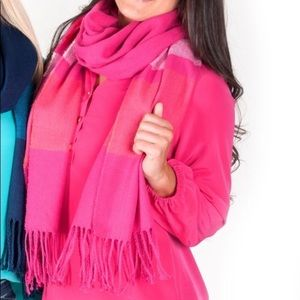 All For Color🌷Pink Scarf With Fringe Soft & Warm