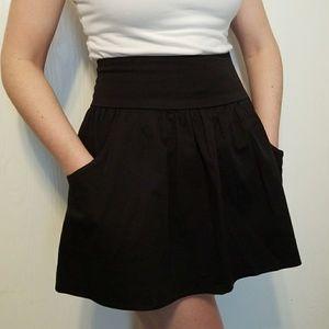 Black Circle Skirt with Pockets
