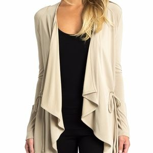 Soft Drape Military Cardigan in Taupe