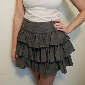 Gray Rue21 Skirt with Layered Ruffles