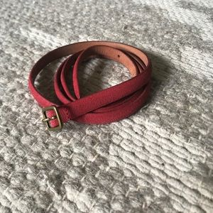 Red Skinny Leather Belt