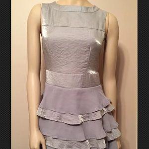 Anthropologie Tulle New Silver Metallic Dress