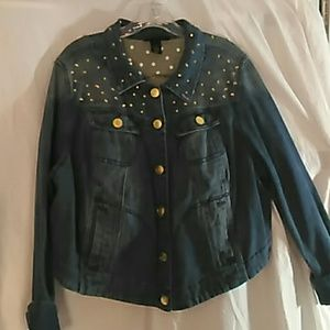 Plus size jean jacket, with gold accent studs