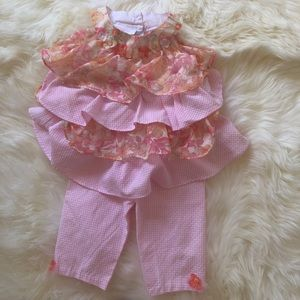 Bonnie Baby Pink gingham print Outfit sz 24💕