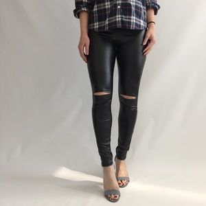 Vegan Leather Cutout Leggings