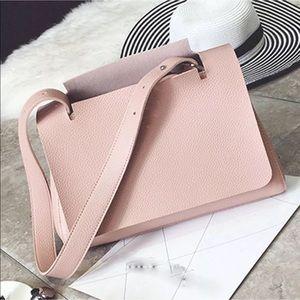 Accessories - Faux Leather Light Pink Shoulder Bag