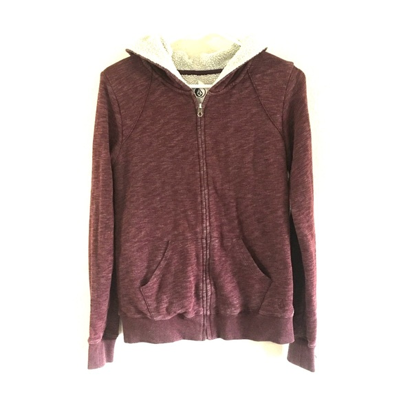 4227d2e4bb Sherpa lined Volcom Purple zip hoodie sweatshirt