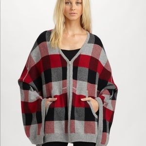 AIKO Cashmere Blend Riley Front Zip Poncho - XS