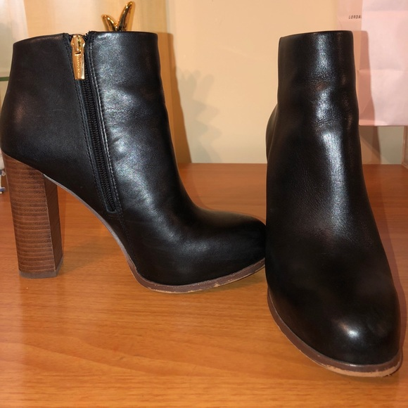 Black Patent Leather Booties With Wood Block Heel