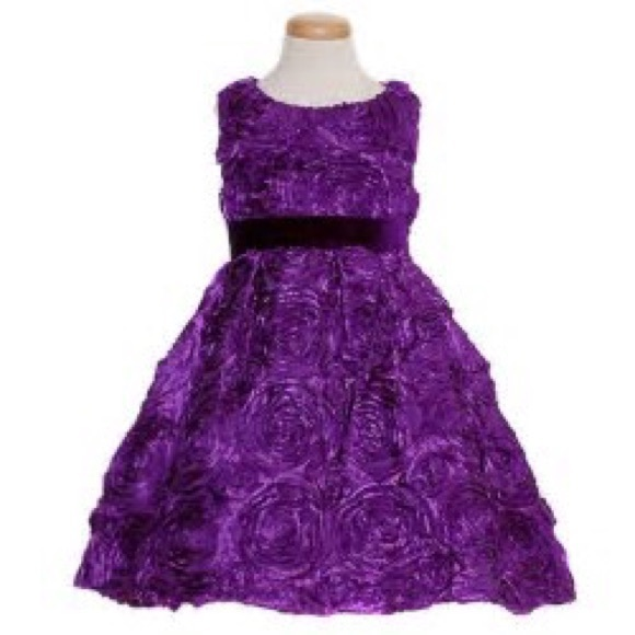 Rare Editions Dresses | Royal Purple Dress Floral Rosette 10 | Poshmark