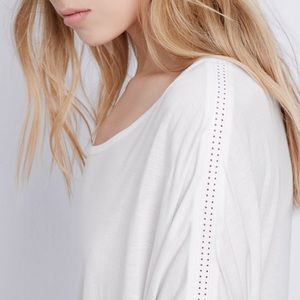VINCE White Perforated Inset Dolman Sleeve Tee
