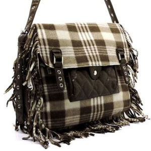 Handbags - Polar Fleece Plaid Fringe Messenger Crossbody