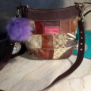 COACH Patchwork Purse Shouderbag Leather and Suede